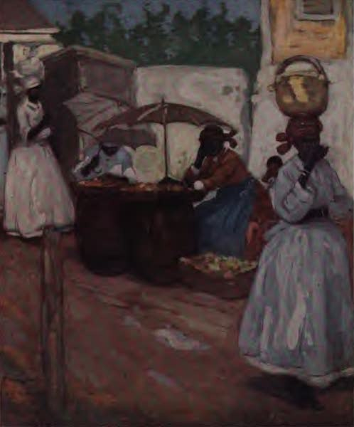 The West Indies, Painted and Described - Stalls outside the Market, Mandeville (1905)