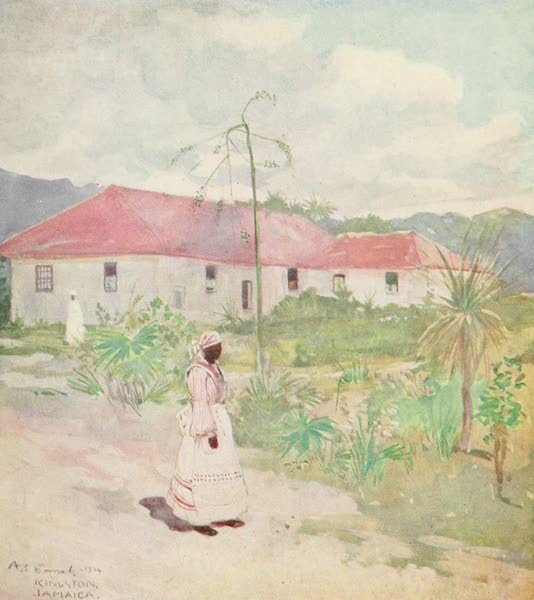 The West Indies, Painted and Described - Outhouses near Kingston, Jamaica (1905)