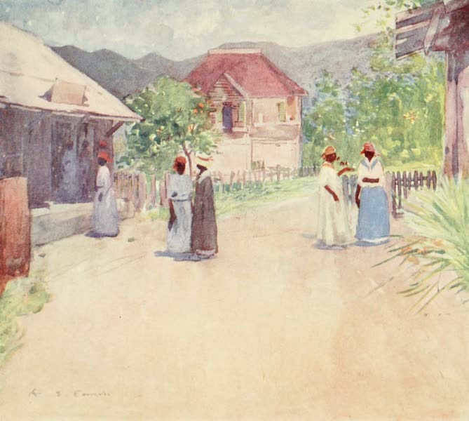 The West Indies, Painted and Described - Huts on a Country Road, Jamaica (1905)