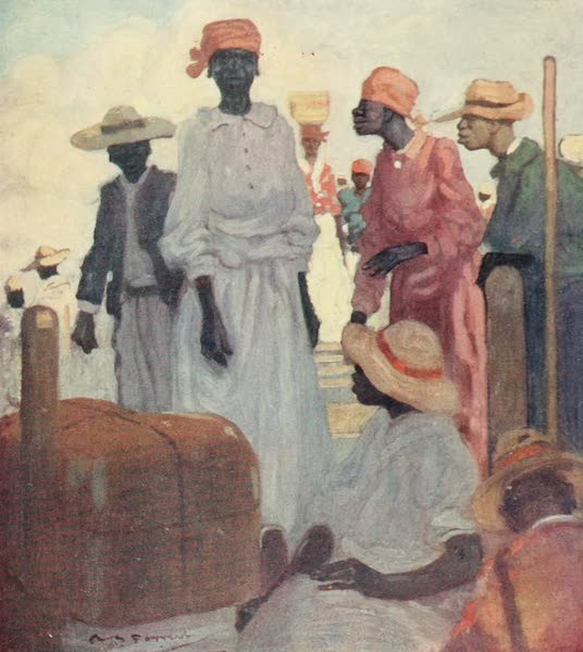 The West Indies, Painted and Described - Passengers embarking from a Quay, St Ann's Bay (1905)
