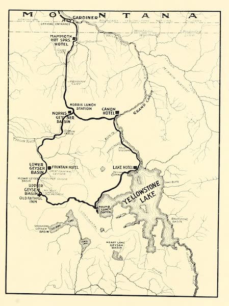 Three Wonderlands of the American West - Map of Yellowstone National Park (1912)