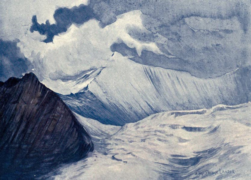 Tibet and Nepal, Painted and Described - One of the Lumpa Peaks and part of the Charles Landor Glacier (1905)
