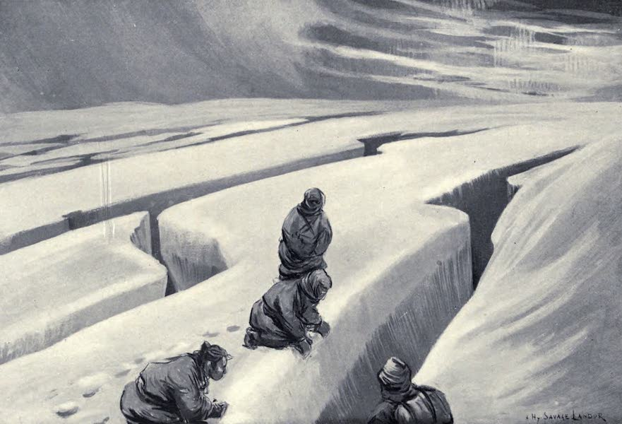 Tibet and Nepal, Painted and Described - Deep Crevasses in the Glacier Ice (1905)