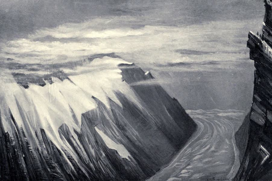 Tibet and Nepal, Painted and Described - Moraine of Glacier and Mountains, showing how Clouds form on the Snow-Lin (1905)