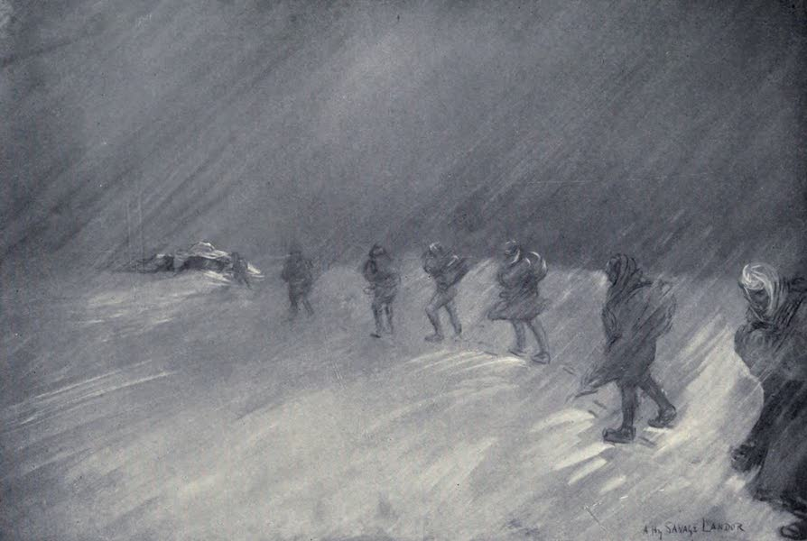 Tibet and Nepal, Painted and Described - Night-marching in a Storm (1905)