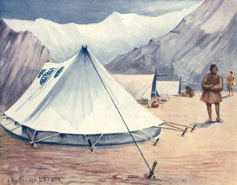 Tibet and Nepal, Painted and Described - Author's Tents, A Camp in Nepal (1905)