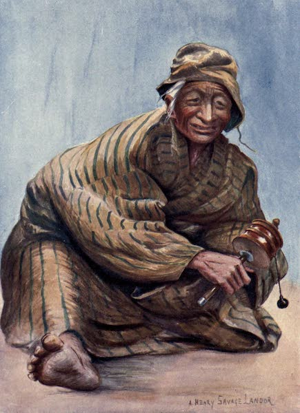 Tibet and Nepal, Painted and Described - An Old Lady and her Prayer-Wheel (1905)