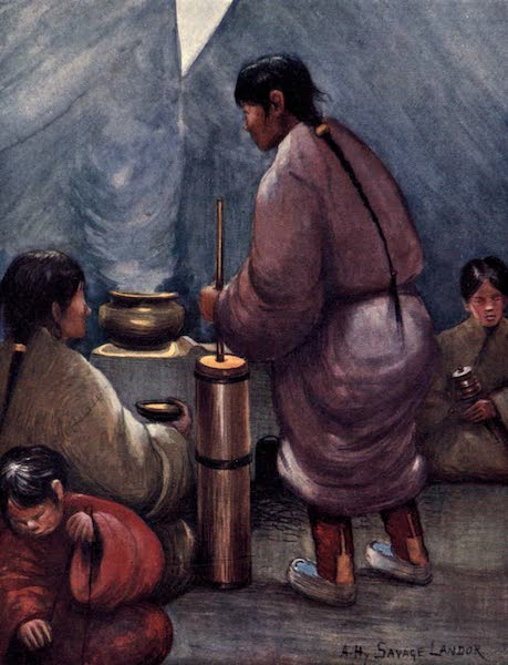 Tibet and Nepal, Painted and Described - Interior of a Tibetan Tent, showing Churn for mixing Tea with Butter (1905)