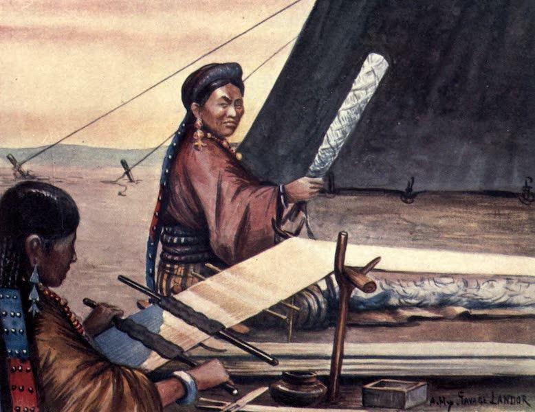 Tibet and Nepal, Painted and Described - Tibetan Women weaving (1905)