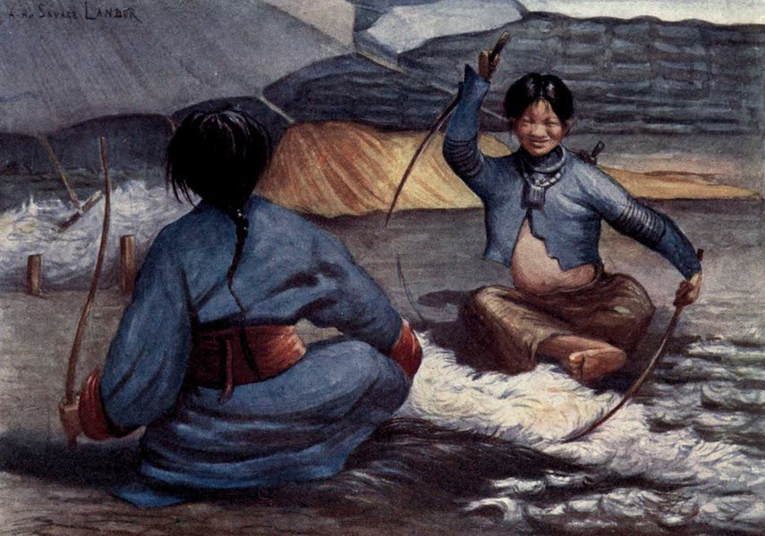 Tibet and Nepal, Painted and Described - Tibetan Women cleaning Wool (1905)