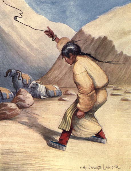 Tibet and Nepal, Painted and Described - Tibetan Woman using a Sling for throwing Stones (1905)