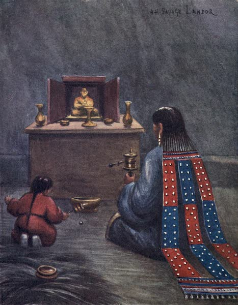Tibet and Nepal, Painted and Described - Woman and Child praying before a Shrine inside a Stone-Throwing Tent (1905)