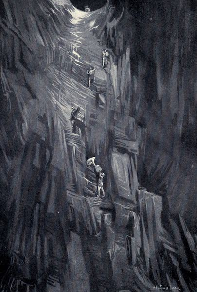 Tibet and Nepal, Painted and Described - A Troublesome Descent on Vertical Rocks (1905)