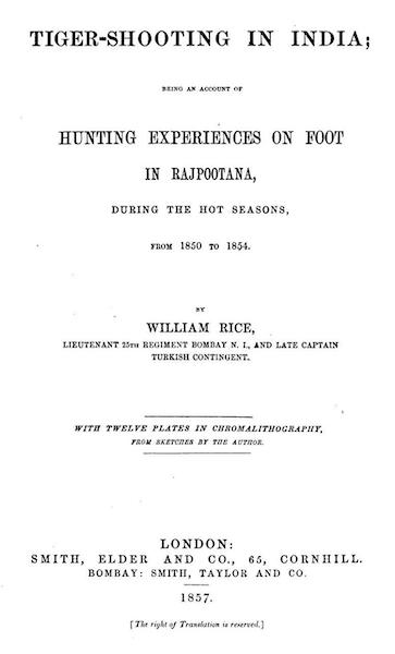 Tiger-Shooting in India - Title Page (1857)