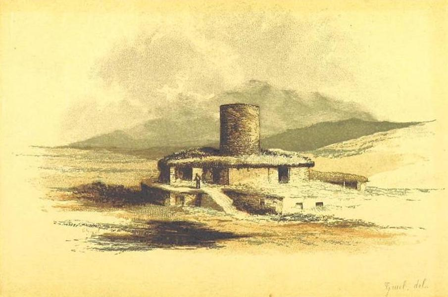 Transcaucasia. Sketches of the Nations and Races - Ossetian Farm and Watch Tower (1854)