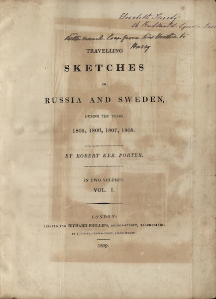 Travelling Sketches in Russia and Sweden Vol. 1 - Title Page (1809)