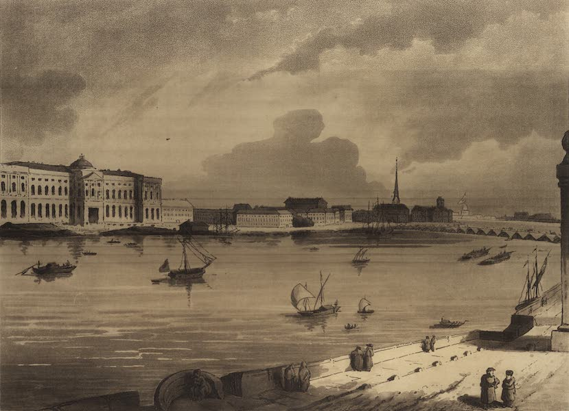 Travelling Sketches in Russia and Sweden Vol. 1 - View from the English Quay at St. Petersburgh (1809)