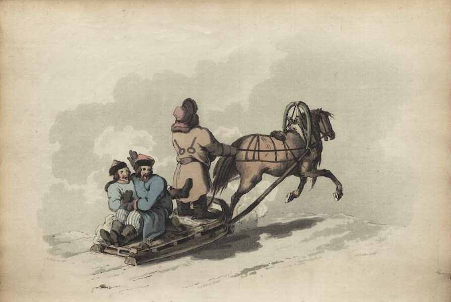 Travelling Sketches in Russia and Sweden Vol. 1 - Russian Boors in Their Winter Sledge (1809)