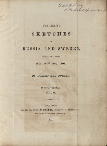 Travelling Sketches in Russia and Sweden Vol. 2 - Title Page (1809)