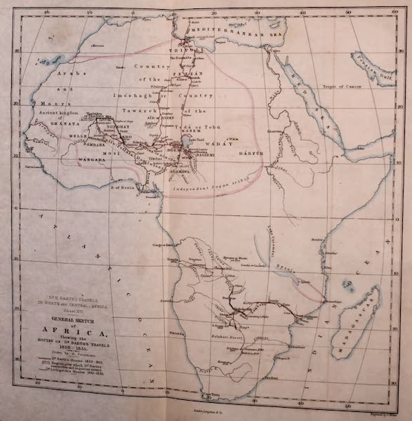 Travels and Discoveries in North and Central Africa Vol. 1 - General Map of Africa (1857)