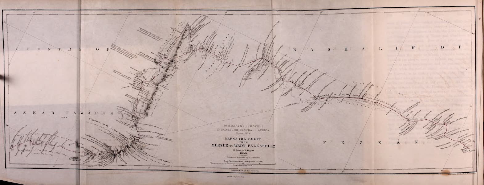 Travels and Discoveries in North and Central Africa Vol. 1 - Route from Murzuk to Wadi Falesselez (1857)