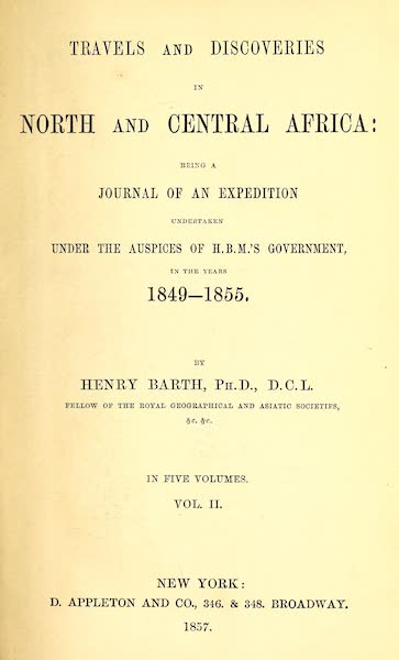 Travels and Discoveries in North and Central Africa Vol. 2 - Title Page (1857)