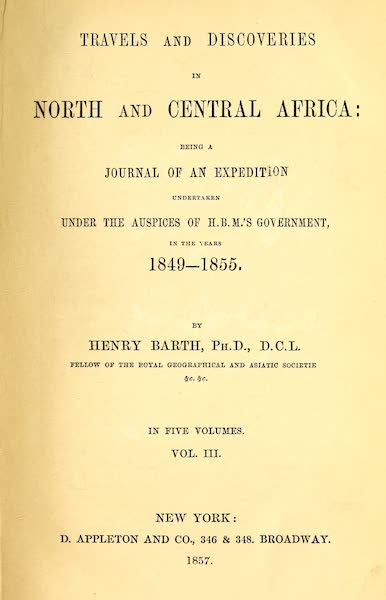 Travels and Discoveries in North and Central Africa Vol. 3 - Title Page (1857)