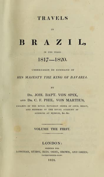 Travels in Brazil Vol. 1 - Title Page (1824)