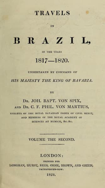 Travels in Brazil Vol. 2 - Title Page (1824)