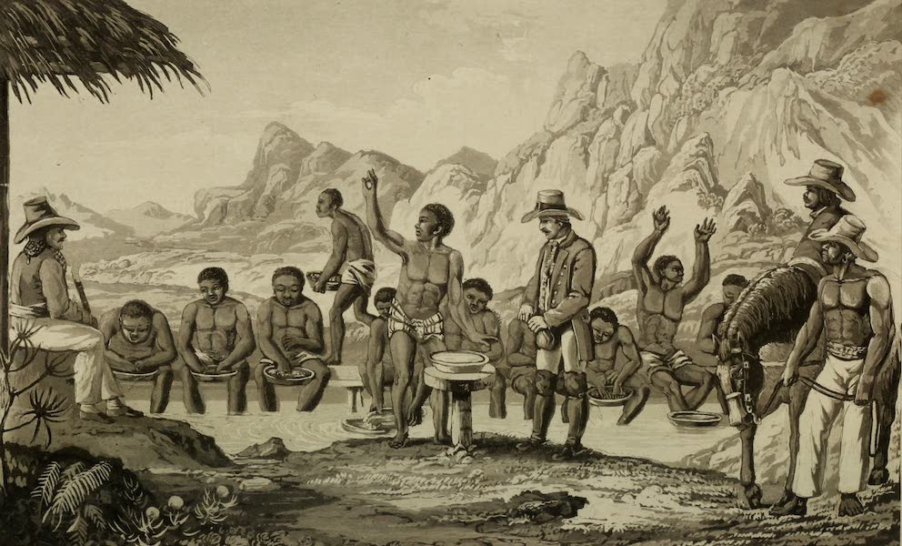 Travels in Brazil Vol. 2 - [Frontispiece] Diamond Washing at Curralinho (1824)