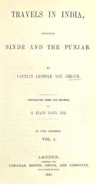 Travels in India, including Sinde and the Punjab - Title Page - Volume 1 (1845)