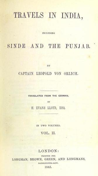 Travels in India, including Sinde and the Punjab - Title Page - Volume 2 (1845)