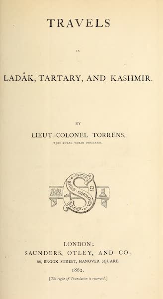 Travels in Ladak, Tartary, and Kashmir - Title Page (1862)