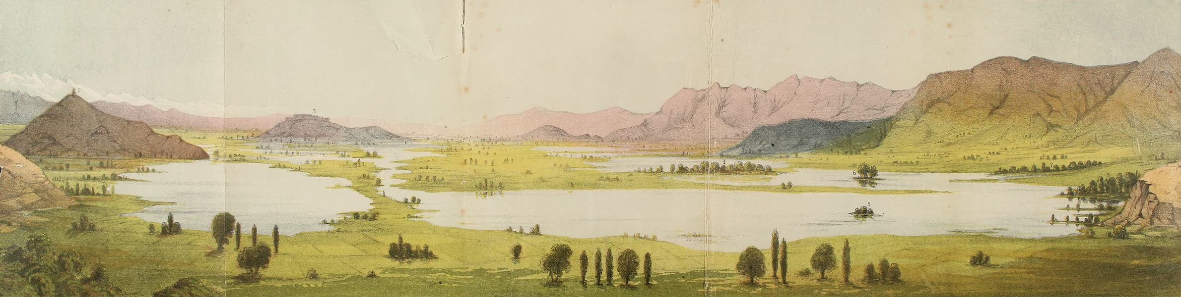 Travels in Ladak, Tartary, and Kashmir - Sketch of Kashmir Valley from Soleiman's seat to the Nishat Bach (1862)