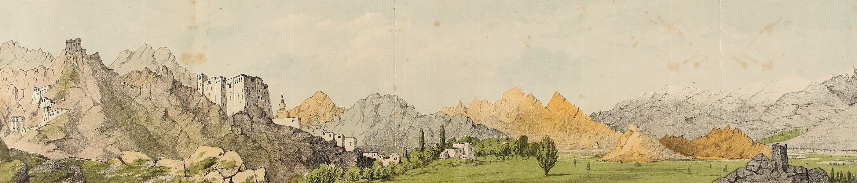 Travels in Ladak, Tartary, and Kashmir - A Panorama of Le from the Palace on the left to the Valley of the Indus on the right. (1862)