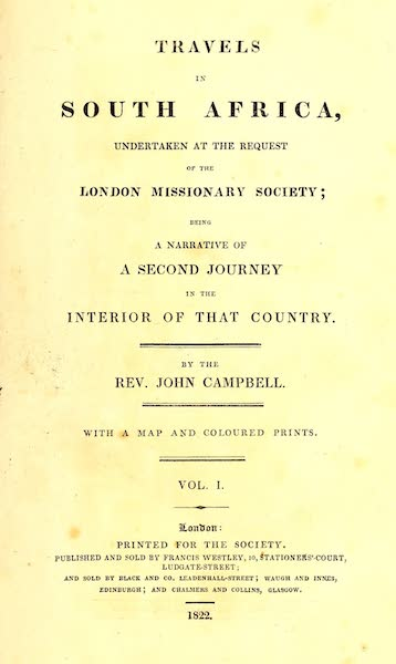 Travels in South Africa Vol. 1 - Title Page (1822)