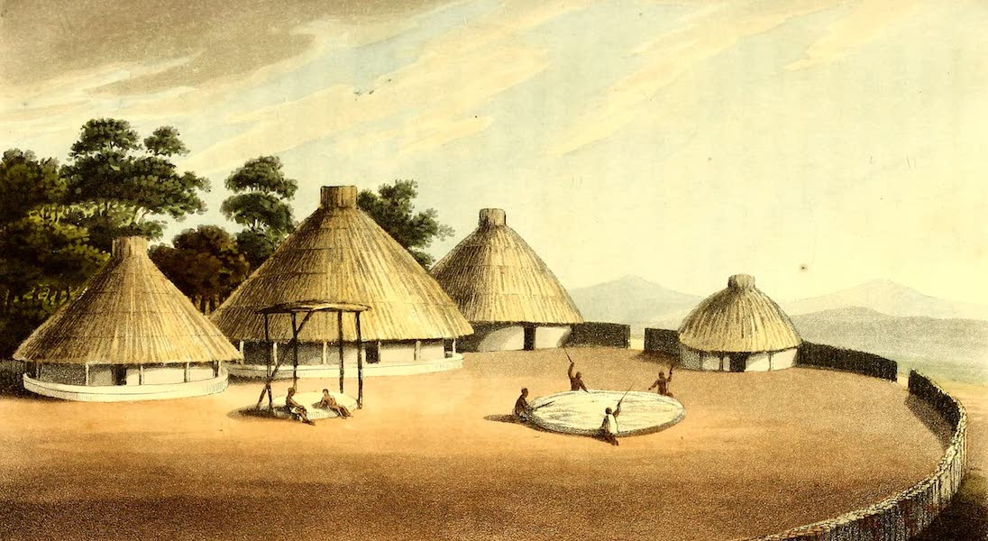 Travels in South Africa Vol. 1 - Houses and Yard of Sinosee, in Kurreechane (1822)