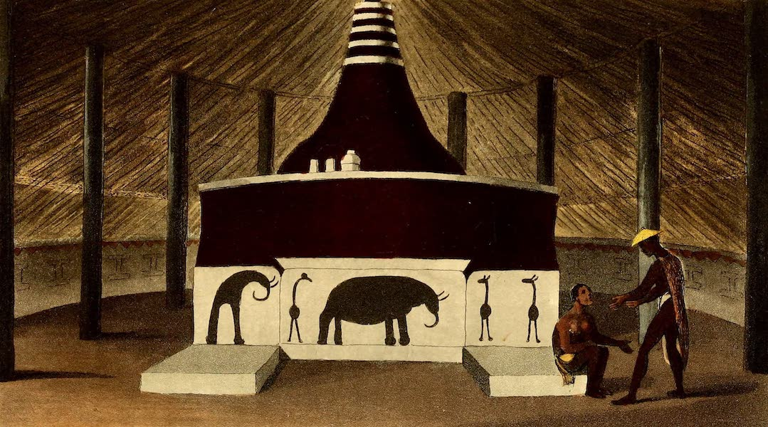 Travels in South Africa Vol. 1 - Interior of Sinosee's house, Kurreechane (1822)