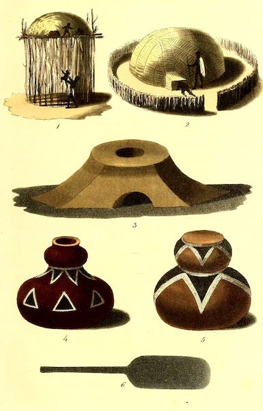 Travels in South Africa Vol. 1 - (1) House at Kurreechane to protect Children during the Night from Lions. (2) Tammaha House at Meribohwhey. (3) Furnace for Smelting at Kurreechane. (4-5) Pottery for containing Milk made at Kurreechane. (6) A Mashow Razor made of Steel. (1822)