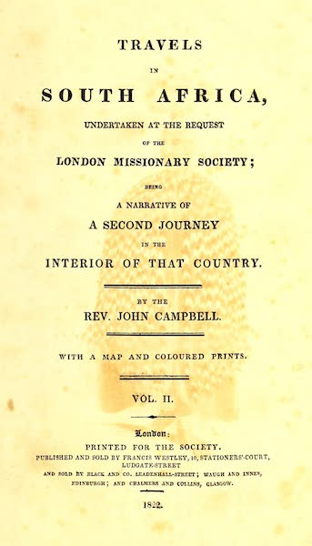 Travels in South Africa Vol. 2 - Title Page (1822)