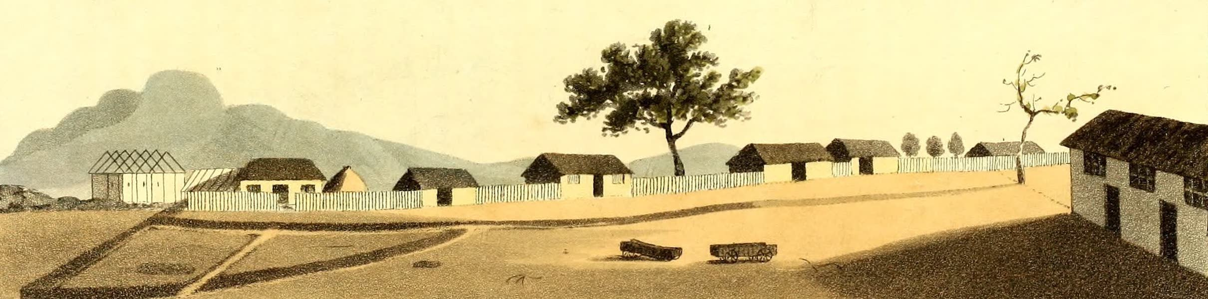 Travels in South Africa Vol. 2 - Burden's Place, New Lattakoo, containing Mission Houses and Church (1822)