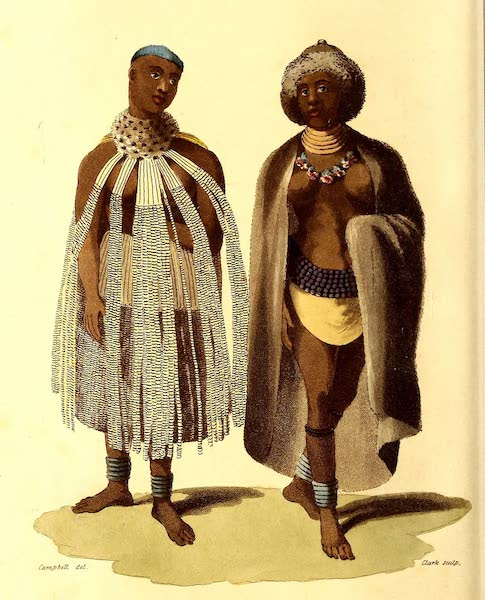 Travels in South Africa Vol. 2 - Dress worn by females at the annual circumcision feast at Lattakoo / The Rainmaker's Wife at Kurreechane. (1822)