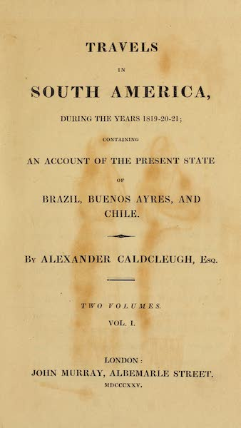 Travels in South America Vol. 1 - Title Page (1825)
