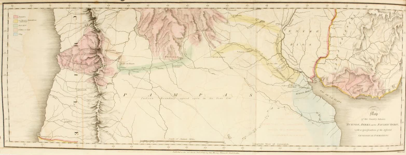 Travels in South America Vol. 1 - Map of the Country Between Buenos Ayres and the Pacific Ocean (1825)
