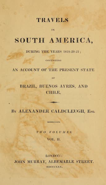 Travels in South America Vol. 2 - Title Page (1825)