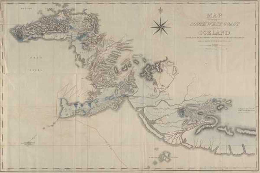 Travels in the Island of Iceland - Map of the Southwest Coast of Iceland (1811)