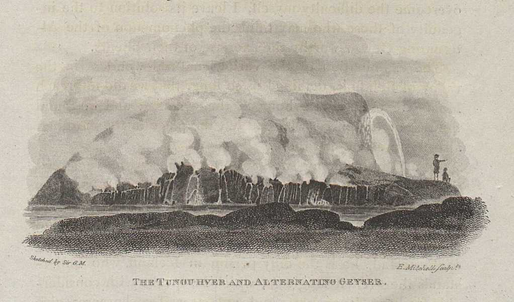 Travels in the Island of Iceland - The Tungu River and Alternating Geyser (1811)