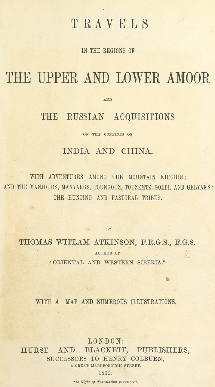 Travels in the Regions of the Upper and Lower Amoor - Title Page (1860)