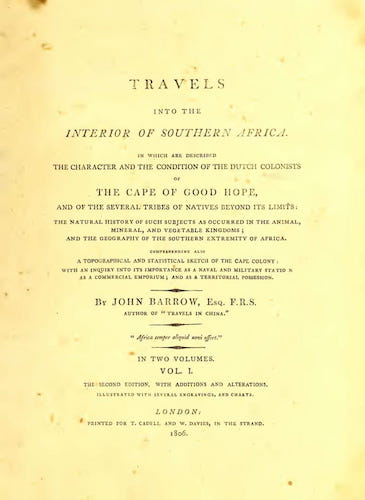 Travels into the Interior of Southern Africa Vol. 1 (1806)
