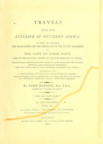 Travels into the Interior of Southern Africa Vol. 2 (1806)